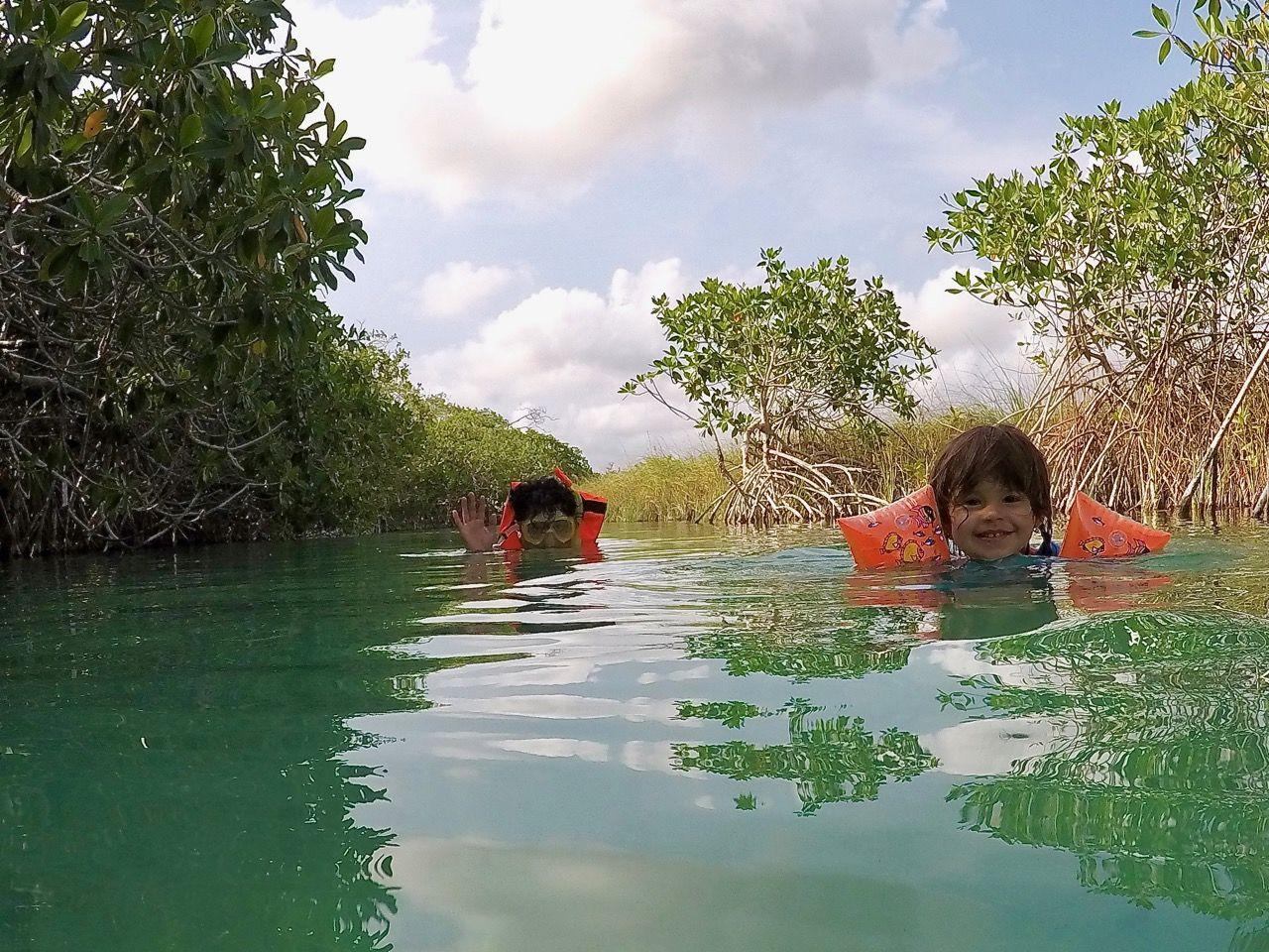 Nechat se unášet mírným proudem mezi mangrovníky zvládnou i ti nejmenší (Sian Ka'an)